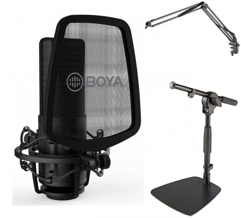Boya BY-M1000 Kondensor Mikrofon + K&M Tischstativ + K&M Mikrofonarm