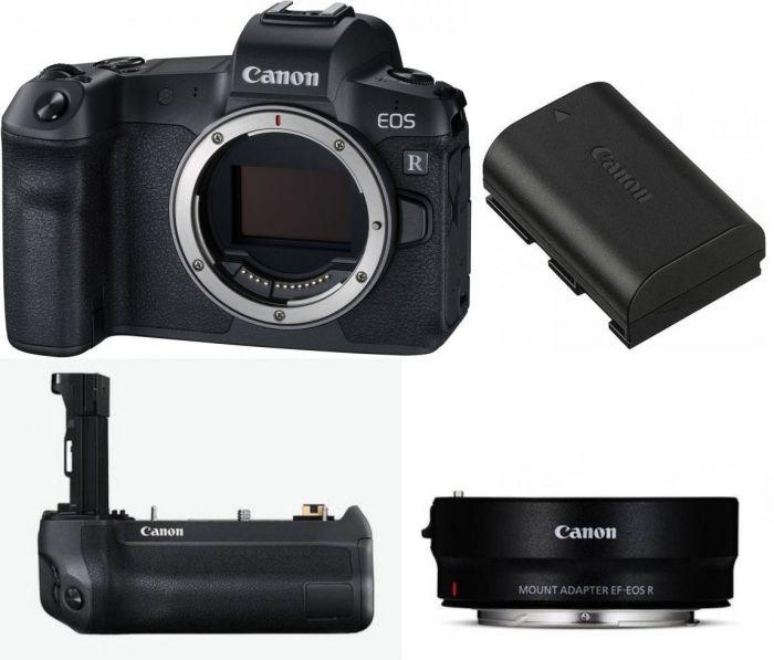 Canon EOS R Body + Adapter EF-EOS R + Griff BG-E22 + Akku LP-E6N