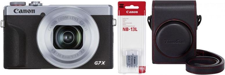 Canon PowerShot G7X Mark III silber+Canon Akku NB-13L+Canon DCC-1880