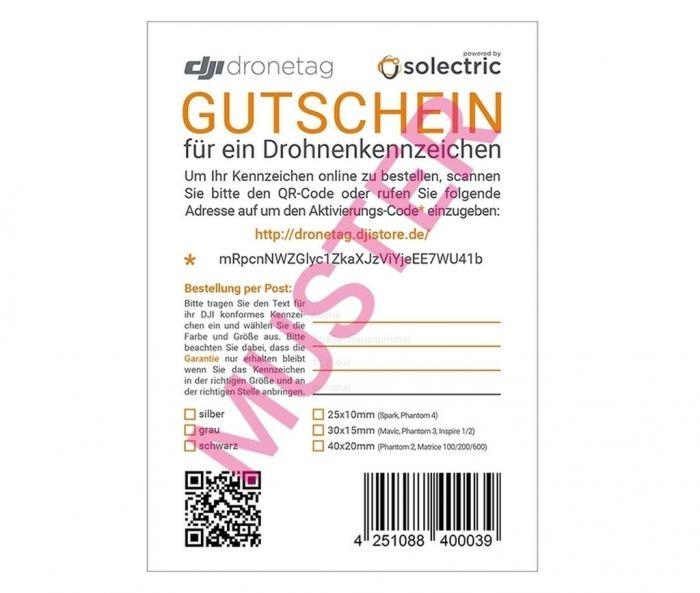 DJI Drohnenkennzeichnungs-Gutschein für Online-Einlösung