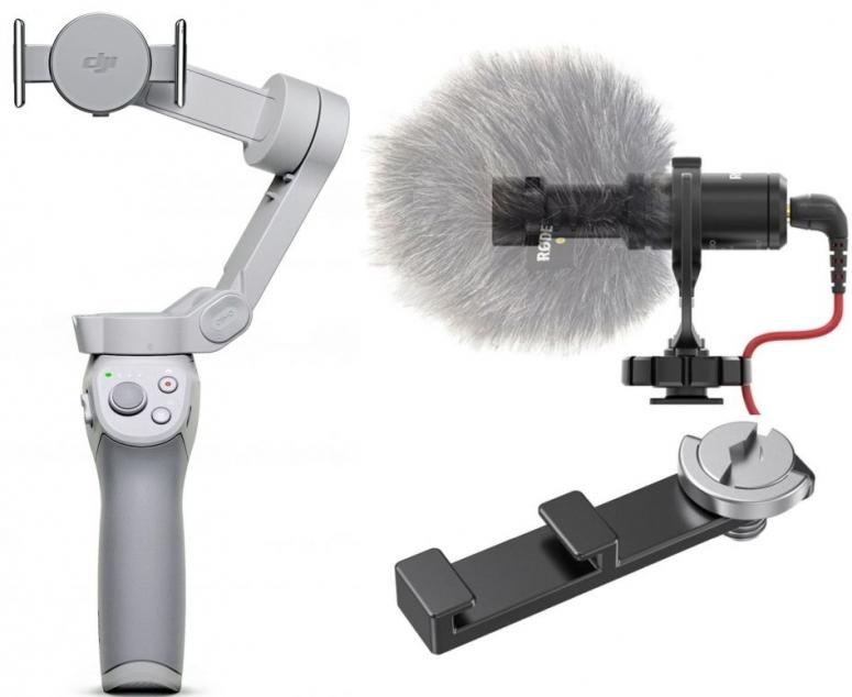 DJI OM 4 Gimbal + Rode Richtmikrofon VideoMicro