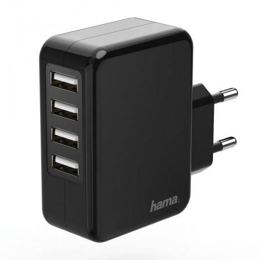 Hama 173676 Ladegerät, 4-fach USB, 4.8 A, Schwarz