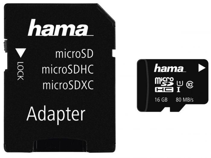 Hama microSDHC 16GB 80MB mit Adapter