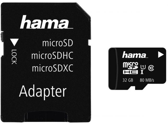 Hama microSDHC 32GB 80MB mit Adapter