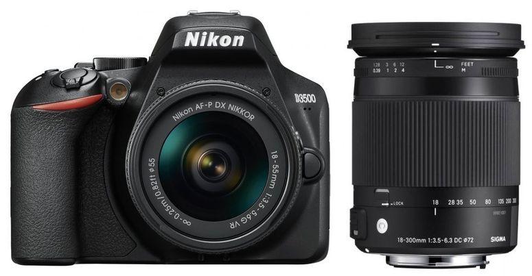 Nikon D3500 + AF-P DX 18-55mm +Sigma 18-300 f3,5-6,3 DC Macro OS HSM N