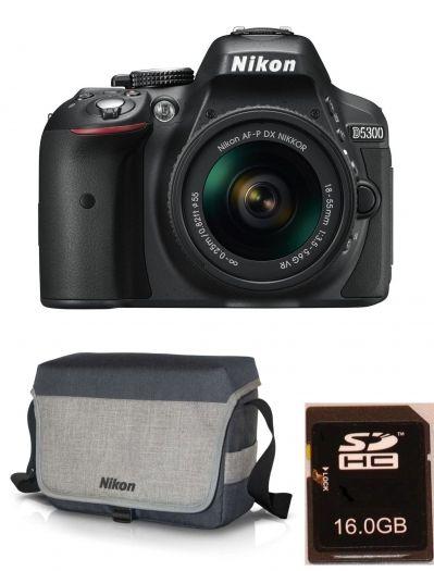 Nikon D5300 + AF-P 18-55mm VR + Tasche CF-EU11 + 16GB Karte
