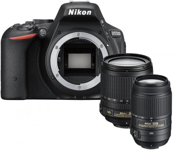Nikon D5500 schwarz Kit AF-S DX 18-105mm + 55-300mm AF-S 4.5-5.6G VR