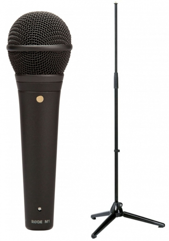 Rode M1 Dynamisches Gesangs-Mikrofon + K&M 200 Mikrofonstativ schwarz
