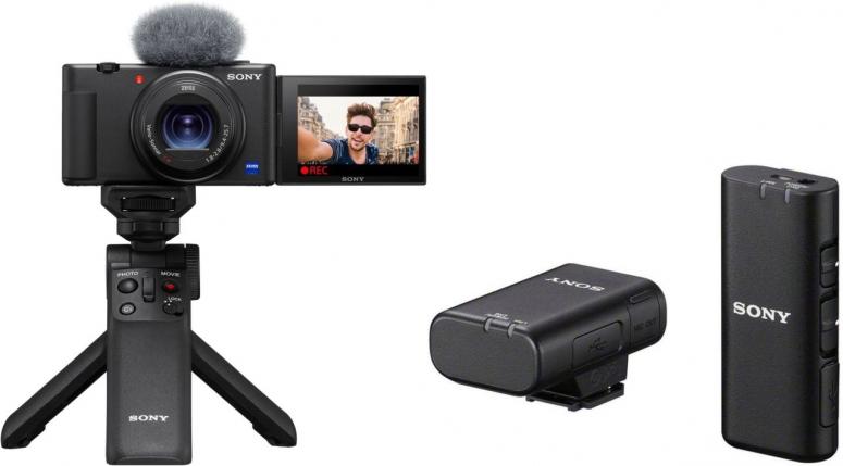 Sony Vlog-Kamera ZV-1 + ECM-W2BT Mikrofon + GP-VPT2BT Handgriff