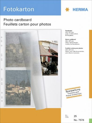 Fotokarton A4 weiss 230x297 mit Schutzblatt 25 Blatt Herma