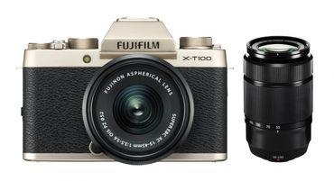 Fujifilm X-T100 Gehäuse + XC 15-45mm + XC 50-230mm gold
