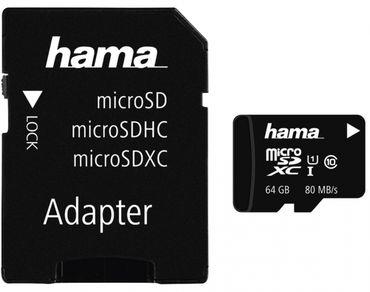 Hama microSDXC 64GB 80MB mit Adapter